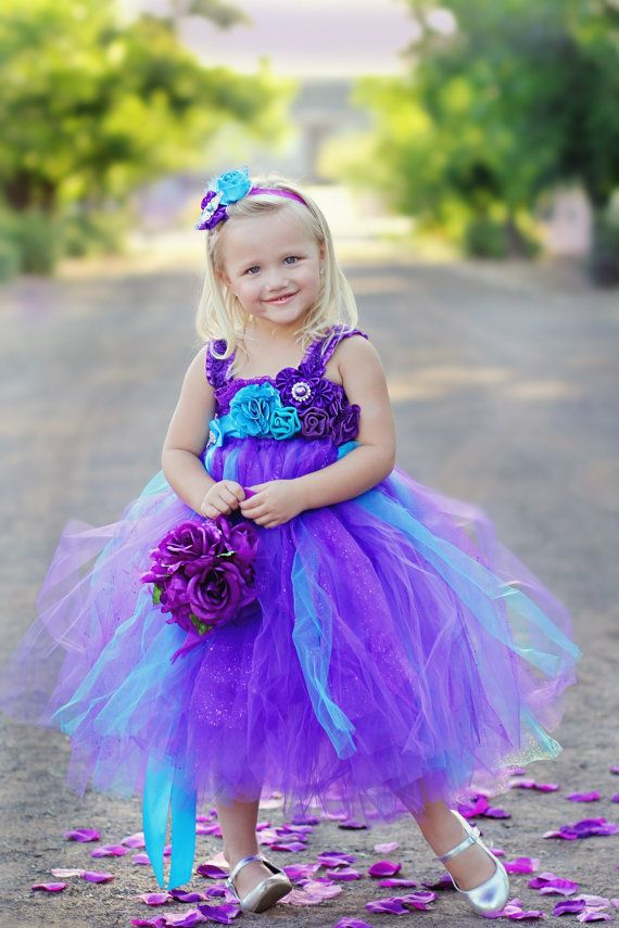 peacock purple and turquoise flower girl tutu dress wedding party birthday headband on