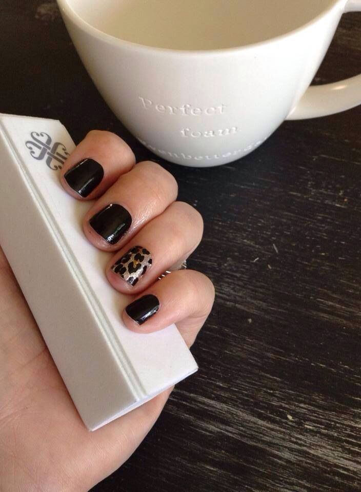 Gilded Leopard + Blackest Night:  just 2 of the amazing designs in the Jamberry Nails Fall/Winter 2014 catalog.  See the rest at http://www.scarlettjams.jamberrynails.net