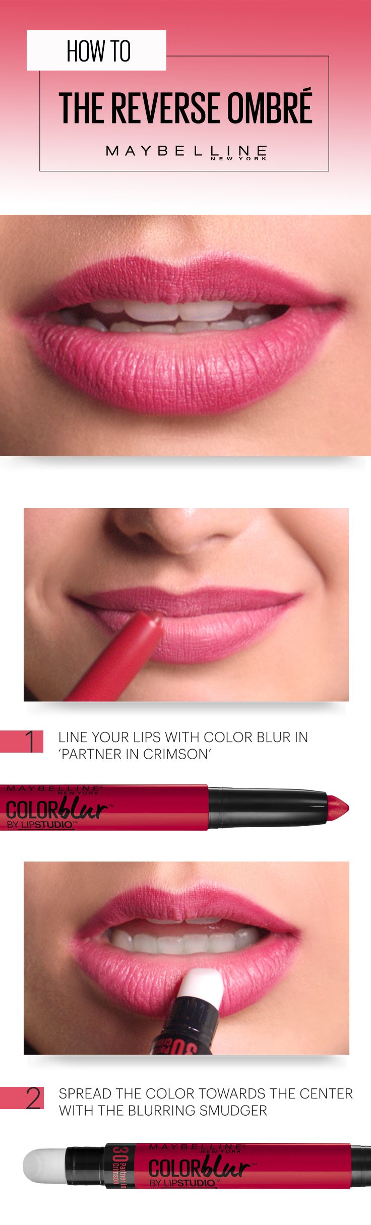 To get this reverse ombré lip look with Maybelline Color Blur in 'Partner in Crimson', line your lips with the matte pencil end and gently blur color inwards with the smudger end. Done. Now get out there and be the fearless babe we know you are. More good news: You can shop this makeup product on Amazon right now!