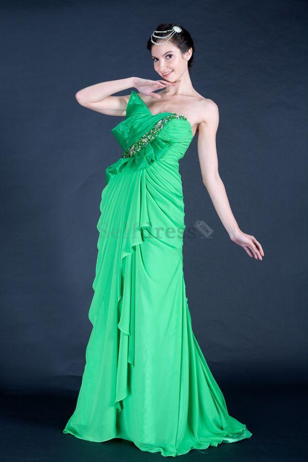 Long Winter Pear Chiffon Strapless Sleeveless Floor Length Sweep Train Thin Misses Evening Dress