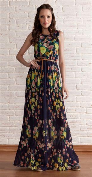 Vestido Longo Floral Plissado