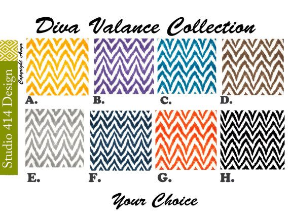 Chevron Valance. Chevron Window Treatment.Diva  by Studio414Design, $18.00