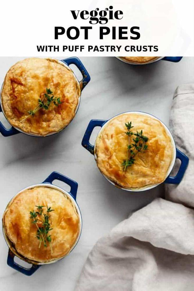 Veggie Pot Pies With Puff Pastry Crust Recipe Vegan Pies Savoury Vegetarian Pie Pot Pie