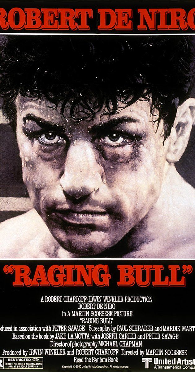Directed by Martin Scorsese.  With Robert De Niro, Cathy Moriarty, Joe Pesci, Frank Vincent. An emotionally self-destructive boxer's journey through life, as the violence and temper that leads him to the top in the ring, destroys his life outside it.