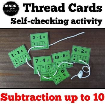 Want more cards, for subtraction up to 20? Buy this one instead... (No need to get both products!) Thread cards for