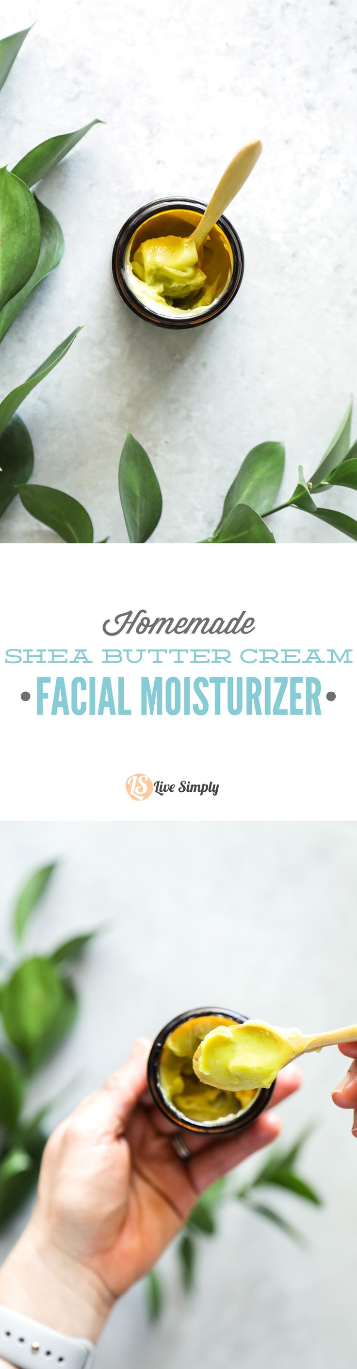 A simple two-ingredient shea butter cream facial moisturizer. Use this as a day or night facial cream after cleansing the skin.
