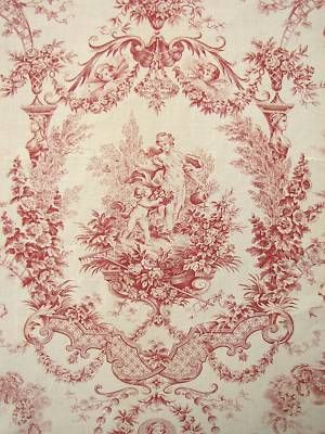 Antique French Fabric Red Romantic Toile Red C1910