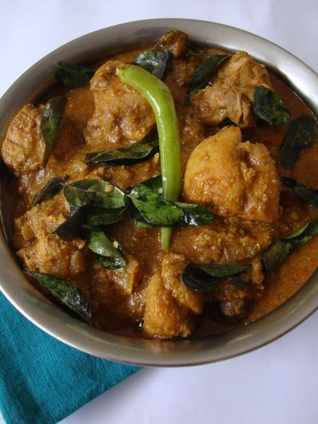 An Andhra style chicken curry recipe, not very spicy, a little sweet due to the coconut milk. I would probably cut that the next time.