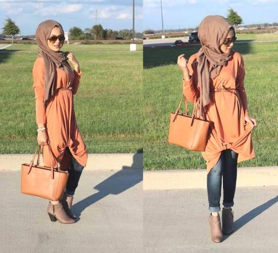 orange tunic hijab style