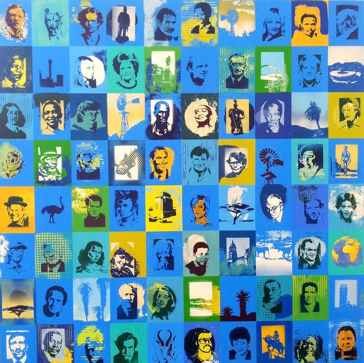 Land Mark - Alex Hamilton, Hand Cut Stencils, Spray Paint and Acrylic on Canvas, 1.2m x 1.2m