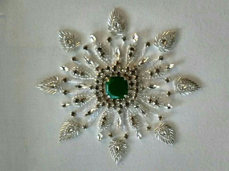 Emerald & Silver stones combination Design