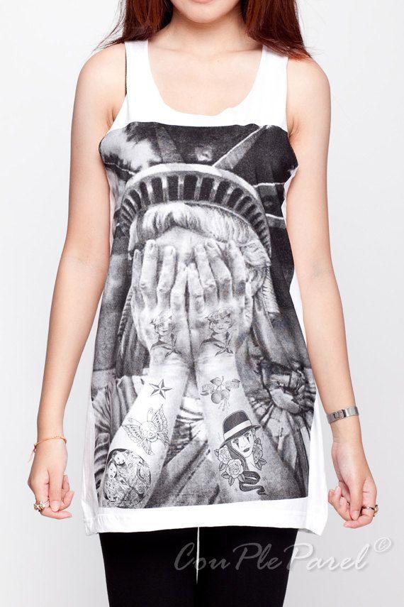Liberty Shirts Tattoo Funny Graphic Shirt White Tank Top Women