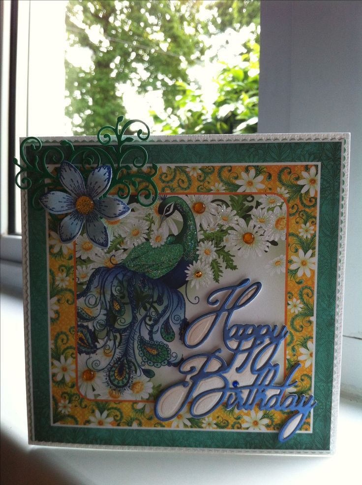 Heartfelt Creations. Peacock Paisley. Happy Birthday Crafters Companion signature die.