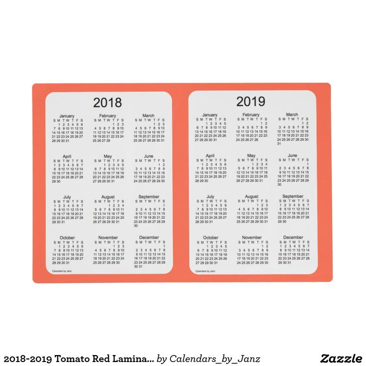 2018-2019 Tomato Red Laminated Calendar by Janz Placemat