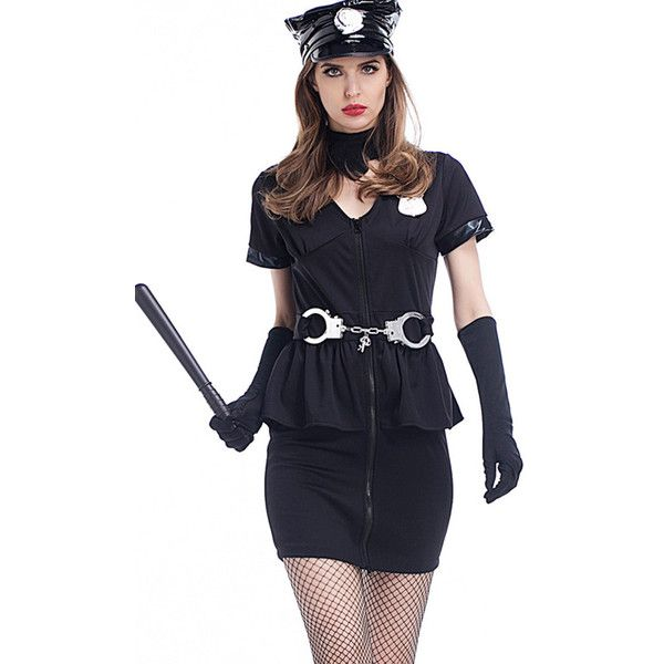 Black Policewoman Uniform Sexy Cop Costume ($35) ❤ liked on Polyvore featuring costumes, black, cop halloween costumes, sexy costumes, sexy cop costume, sexy police officer halloween costume and sexy police officer costume