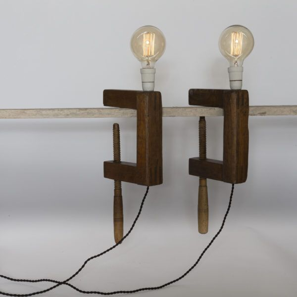 Wooden Clamp. Handmade table lamp made of vintage wooden clamp.