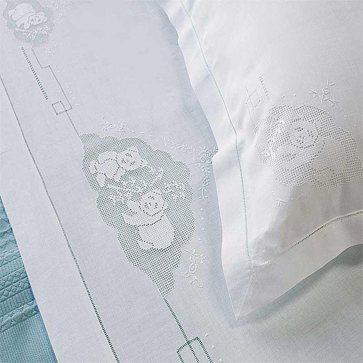 Parure Lenzuolo Panda | Ricami e Pizzi 100% linen fabric hand-embroidered