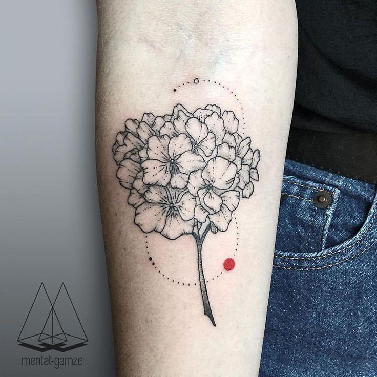 "mentatgamze: ""Hydrangea flower for Erin✌️#tattoo #tattoostagram #dotwork #linework #ink #inked #minimal #art #customtattoo #flowers #hydrangea #nature #dövme """