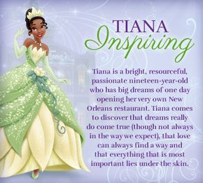 Tiana is the heroine of the 2009 animated film The Princess and the Frog and is the first Princess of African-American decent. Description from ainimrashihah.blogspot.com. I searched for this on bing.com/images