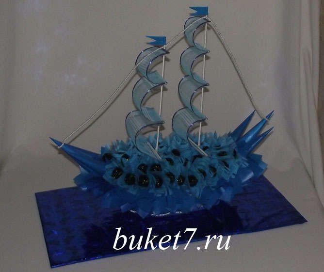 Мастер-класс корабль из конфет своими руками. Шаг 27