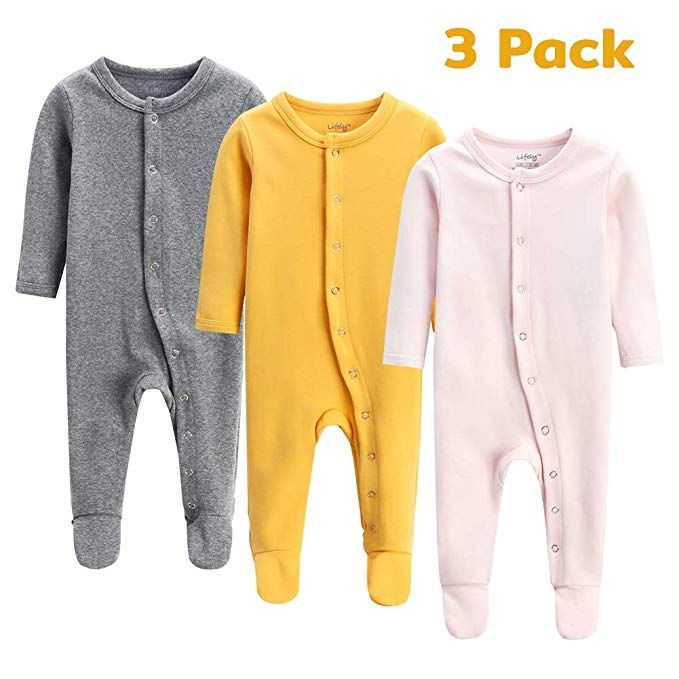 3f9ce56a1 lifely 3 Pack Baby Pajamas Footed Baby Boy Girl Pajamas Cotton ...