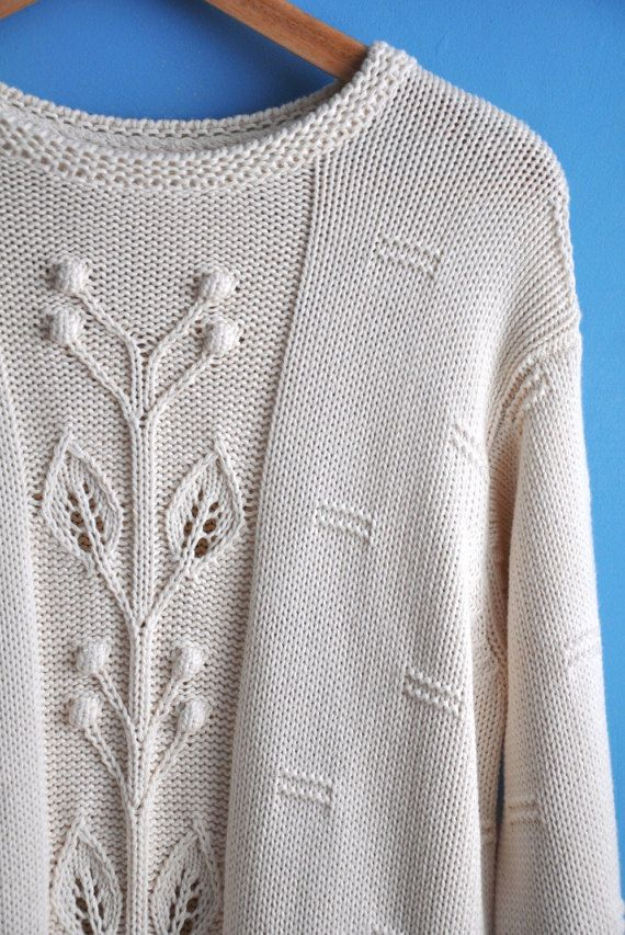 SALE! Vintage Benetton sweater, vintage white sweater, womens sweater, white cotton sweater, vintage knitwear, made in Italy