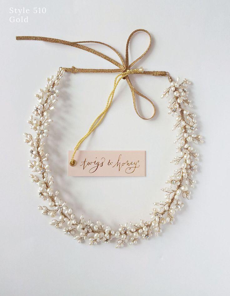 Pearl baby's breath hair wreath, crown, halo, headpiece, hair vine   Twigs & Honey ®, LLC