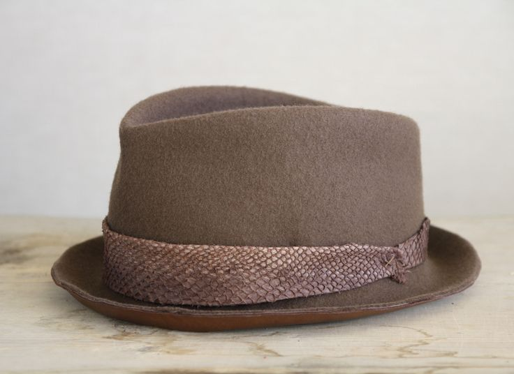 porkpie, hat, hats, menswear, leather, fishleather, accessoires, fedora