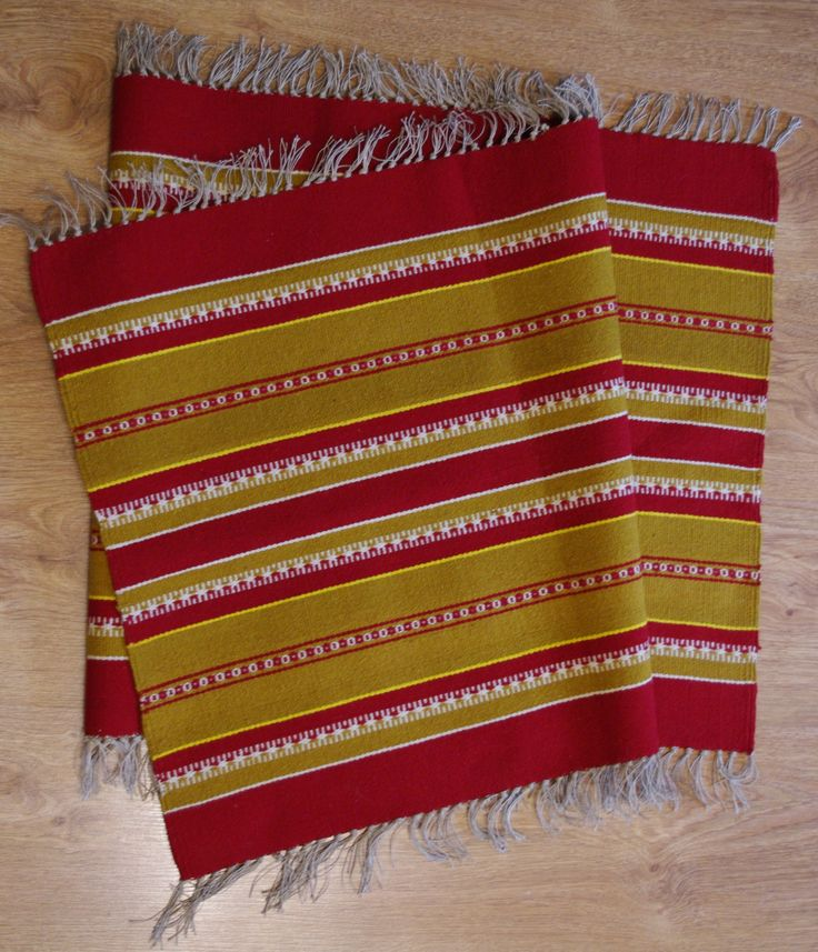 flatwoven wool rug with fringes tribal striped small area rug hutzul ukrainian carpet