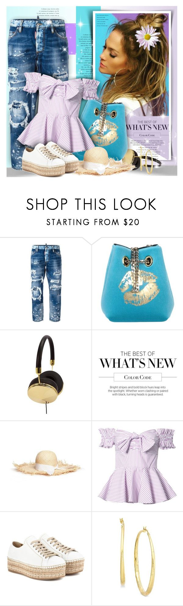 """Sweet Summer"" by petri5 ❤ liked on Polyvore featuring Dsquared2, La Fille Des Fleurs, Frends, Gigi Burris Millinery, Caroline Constas, Prada and Thalia Sodi"