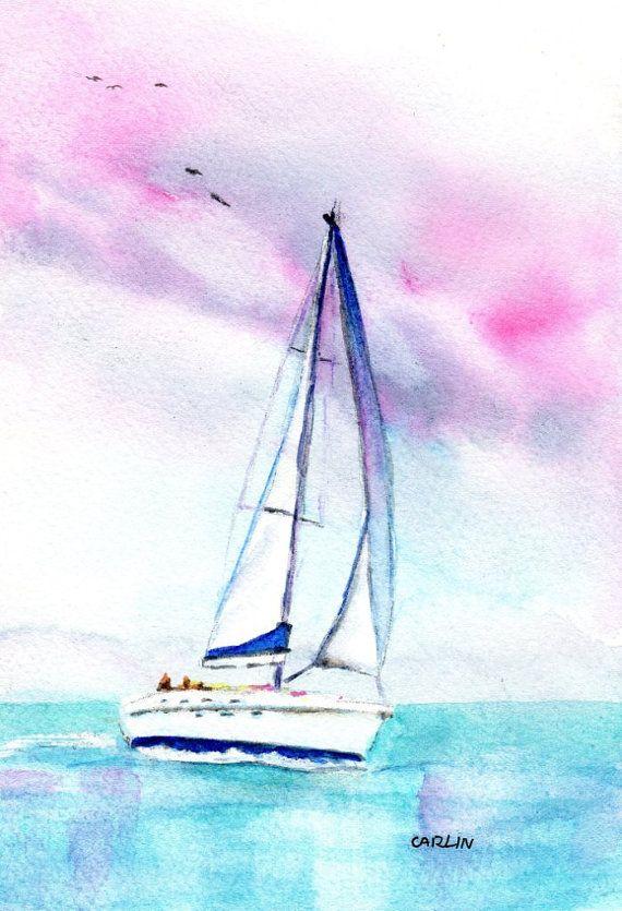 ORIGINAL Watercolor Sailboat Painting 5x7 by CarlinArtWatercolor artist Carlin Blahnik. Tropical Summer Sunset, a sailors delight!