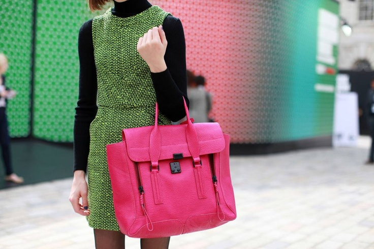 Fall 2012 'Pashli' Satchel in Bright Fushcia. Available online in an array of colors... http://www.31philliplim.com/shop/category/womens_accessories/bags