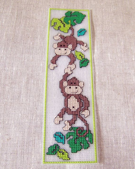 Back to school, cross stitch bookmark, Little Monkeys