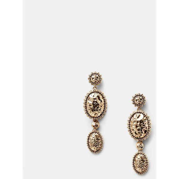 MANGO Metal Pendant Earrings (€24) via Polyvore featuring jewelry, earrings, gold, hinged earrings, geometric earrings, geometric pendant, mango jewelry and snap button jewelry