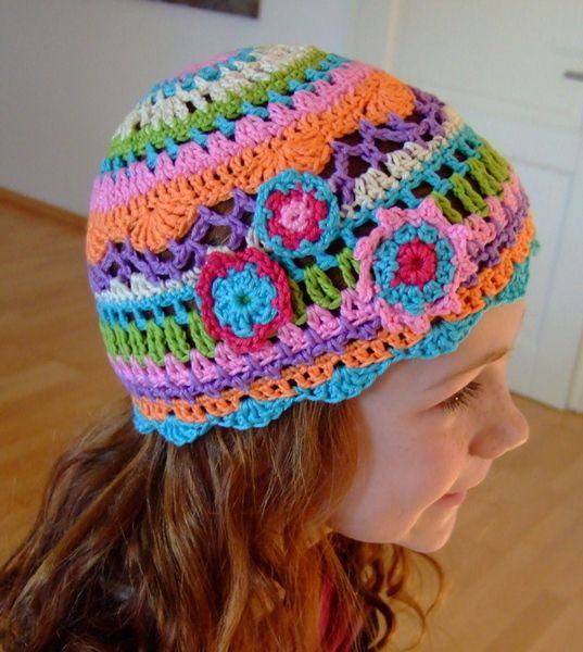 "This beany is addictive – made in various colours in ""hippie""-style or for the little princess all in pink,"