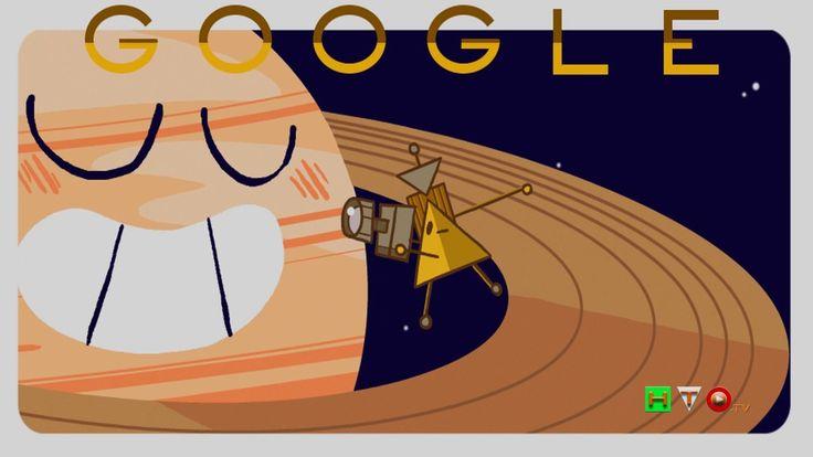 Doodle di Google per la sonda Cassini che orbita fra Saturno ed i suoi a...