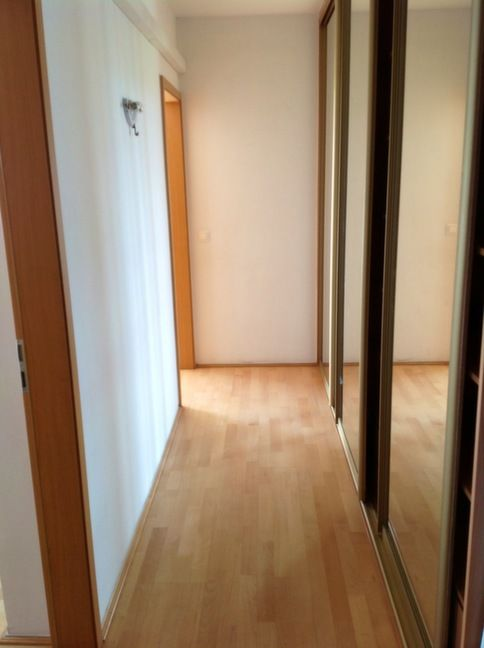 Corridor of bedrooms + big built-in wardrobe with mirror doors
