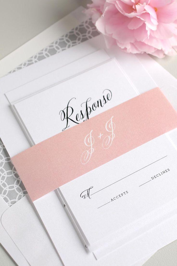Rustic Modern Wedding Invitations in Blush Gray From @shinewedding
