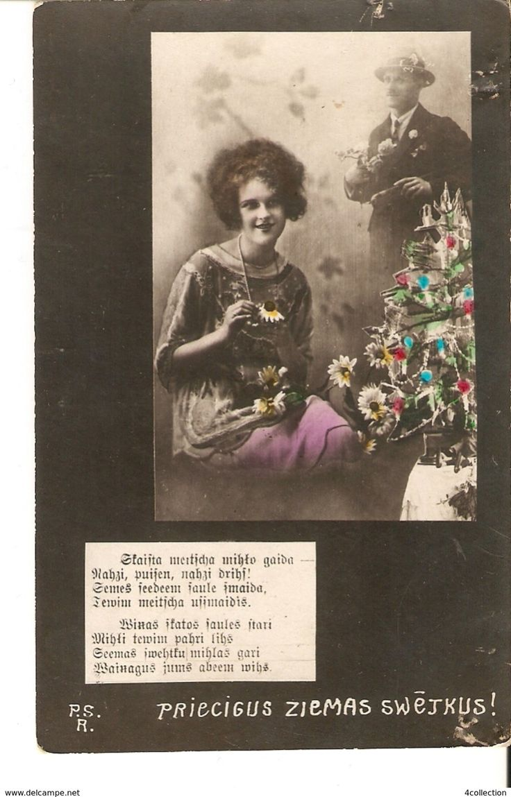 Old PSR Latvia Christmas New Year photo postcard posted in 1927 - Couple Man & Woman Christmas tree Poem