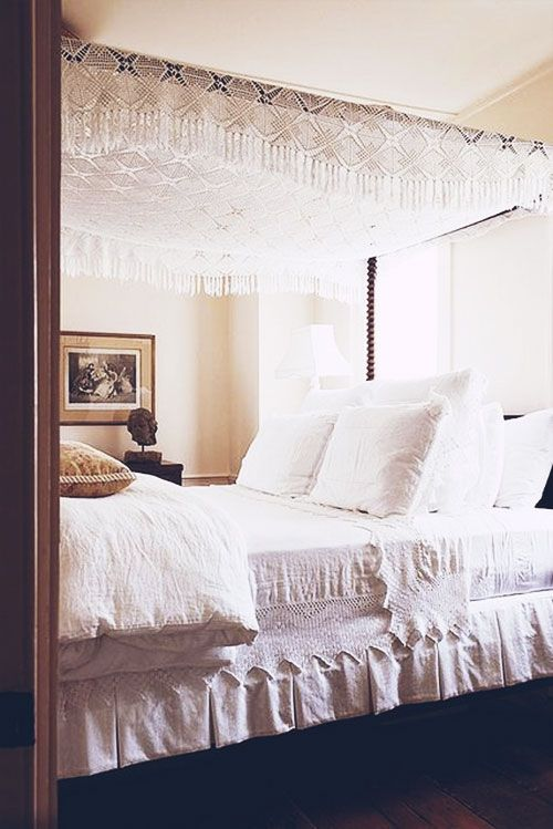canopy bed, I actually really like that For my house Pinterest String lights, Cottage in ...