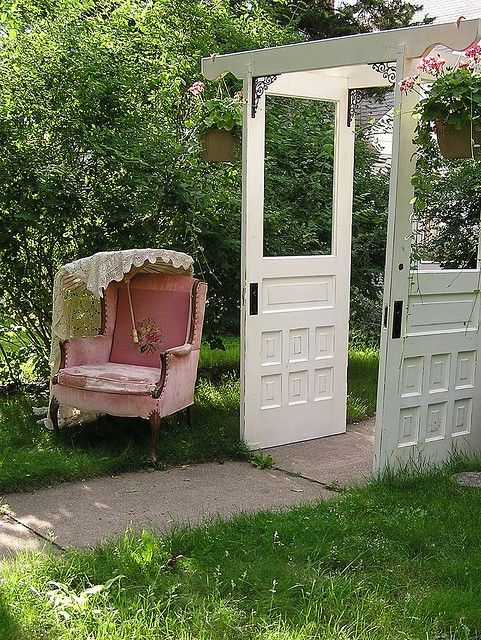 What a great use for old doors: Gardens Ideas, The Doors, Doors Arbors, Gardens Design Ideas, Garage Doors, Modern Gardens Design, Pink Chairs, Old Doors, Vintage Doors