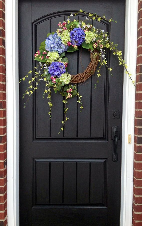 Spring Wreath Easter Wreath Summer Wreath Grapevine Door Wreath Decor