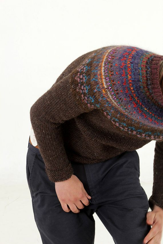 100 Natural Handmade Men Sweater Iceland Style Wool Different Yarn