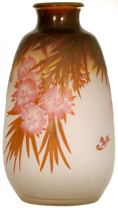 "14"" SIGNED GALLE FOUR COLOR FRENCH CAMEO ART GLASS VASE. Unique anging leaf and blossom decor"