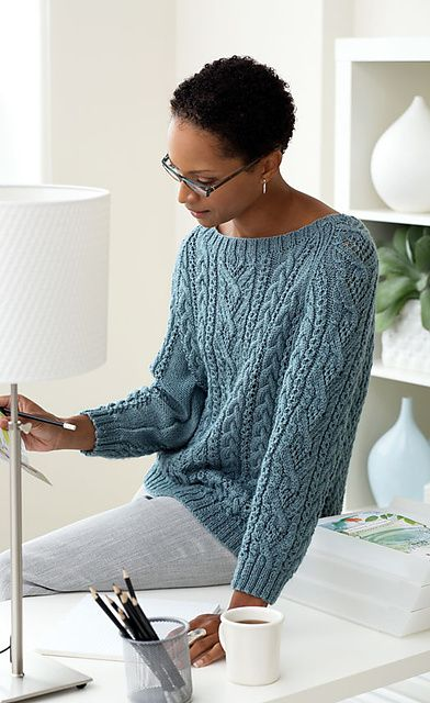Cable Pullover pattern by Patons.  Like neckline