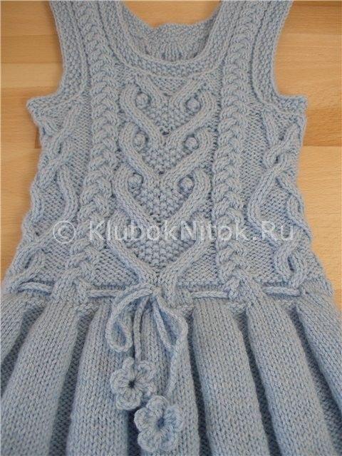 Теплый сарафан со складками | Вязание для детей | Вязание спицами и крючком. Схемы вязания.