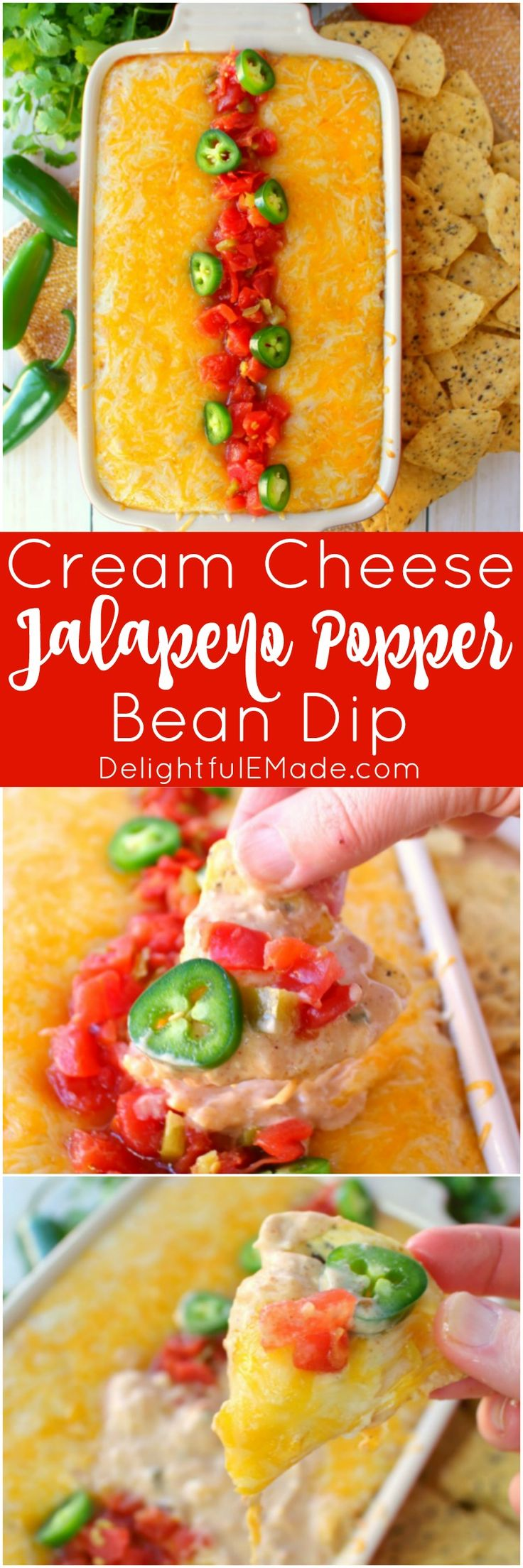Jalapeno Popper Dip doesn't get much better than this! Made with Ro*Tel and Rosarita Refried Beans this hot cream cheese bean dip recipe is perfect for game day or anytime you want a delicious dip for snacking. #AD #WinTheCrowdWM