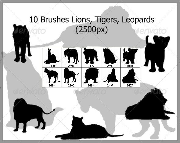 10 Brushes Lions Tigers Leopards (2500px)  #GraphicRiver         10 Brushes, Lions, Tigers and Leopards   Features: 10 Brushes Resolution: 2500×2500px 1 ABR File Help file   I need your support    Please Follow   Please don't forget to rate if you like it!   Thank you     Created: 31March13 Add-onFilesIncluded: PhotoshopABR MinimumAdobeCSVersion: CS Tags: abstract #brush #brushset #cat #cats #creative #decoration #decorative #decorativebrushes #decorativeswirl #elegant #floral #flowers…