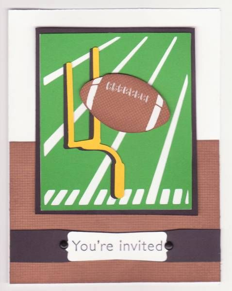 Football Game Invites  Sports Mania Cricut Cart: Football Ideas, Cards Ideas, Mania Cricut, Football Games, Cardmaking Ideas, Sports Mania, Games Invitations, Invitations Sports, Cricut Carts