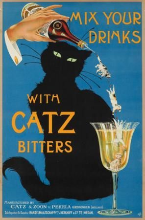 vintage poster of drinking instruments, Catz Bitters